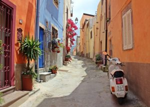 Italian alley with scooter
